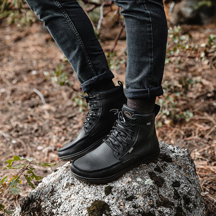 Lems Boulder Boot Waterproof flexible sole and wide toe box minimalist Black Hiking Boot Australia Online
